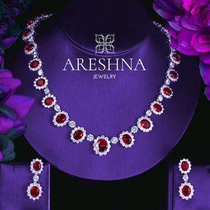 Ruby Swarovski Crystals Imperial Jewelry set